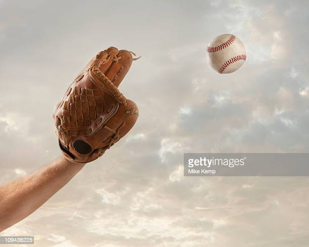 USA, Utah, Lehi, hand of baseball player catching baseball