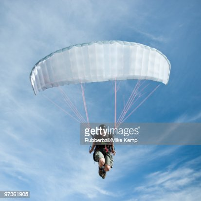 USA, Utah, Lehi, low angle view of mature paraglider