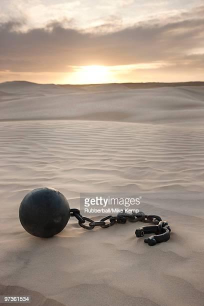 USA, Utah, Little Sahara, ball in chain on desert