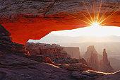 USA, Utah, Mesa Arch and Washer Woman rock formation at sunrise