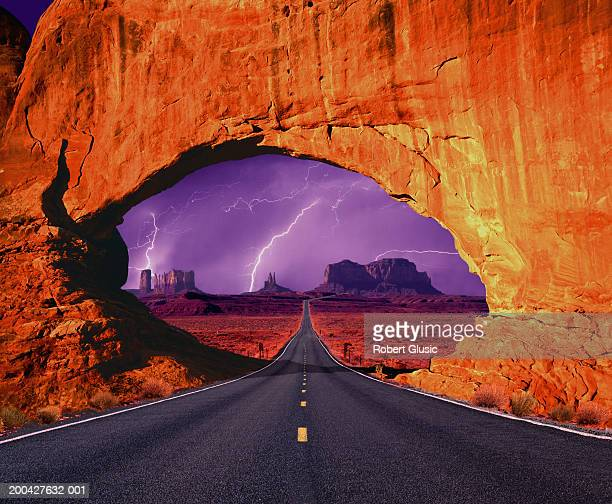 USA, Utah, Monument Valley, lightning storm, view through arch