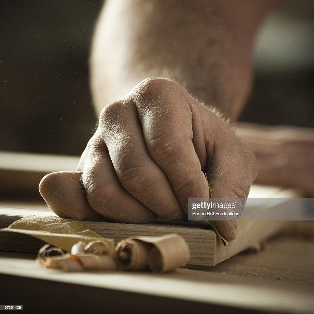USA, Utah, Orem, close-up of carpenter at work : Stock Photo