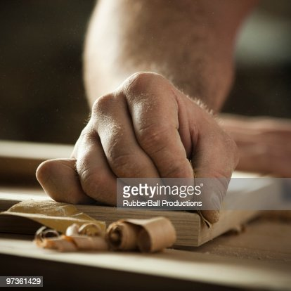 USA, Utah, Orem, close-up of carpenter at work