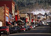 USA, Utah, Park City, street scene, winter