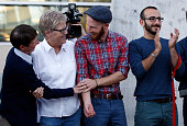 Utah plaintiffs in the US Supreme Court case Kody Partridge Lauri Wood Derek Kitchen and Moudi Sbeity attend a samesex marriage victory celebration...