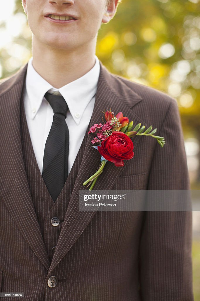 USA, Utah, Provo, Mid section of groom wearing full suit decorated with boutonniere : Stock Photo