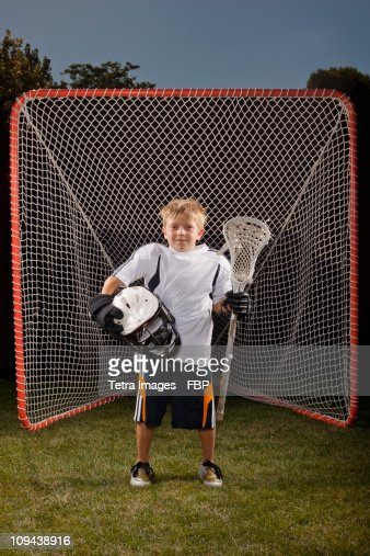 USA, Utah, Provo, Portrait of junior (6-7) lacrosse player in goal