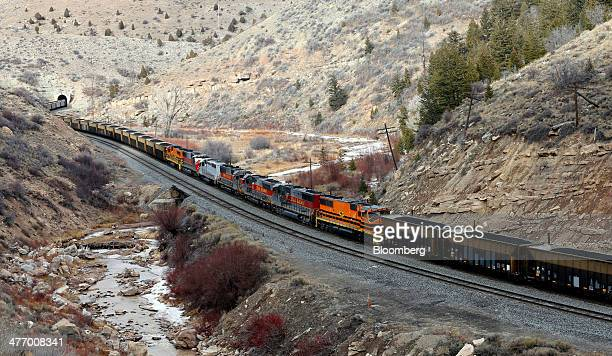 A Utah Railway train moves 103 cars of coal each with over a 100 tons up Price Canyon from the Wildcat Coal LoadOut Terminal owned by Intermountain...