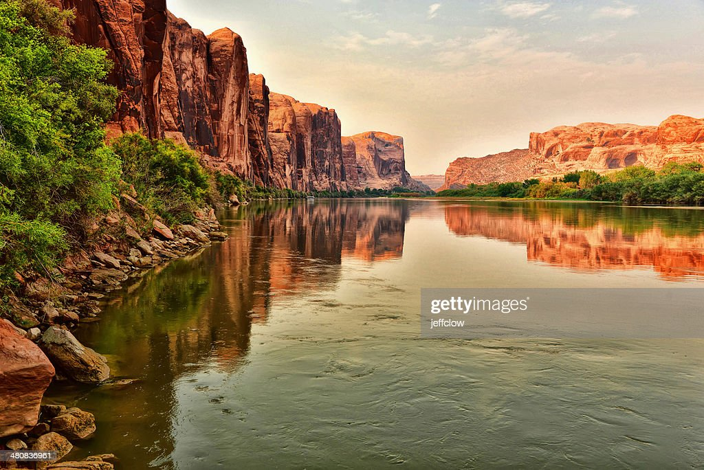USA, Utah, Red rock reflecting along Colorado River near Moab