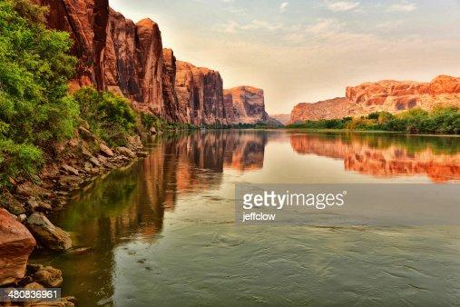 USA, Utah, Red rock reflecting along Colorado River near Moab