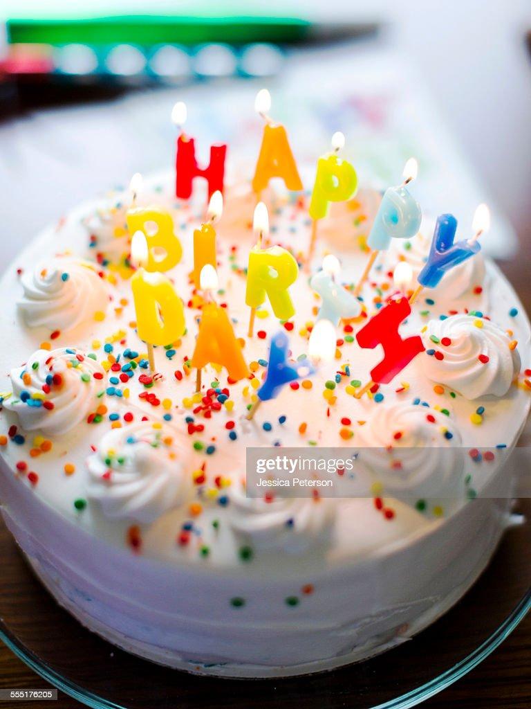 USA, Utah, Salt Lake City, Birthday cake on table