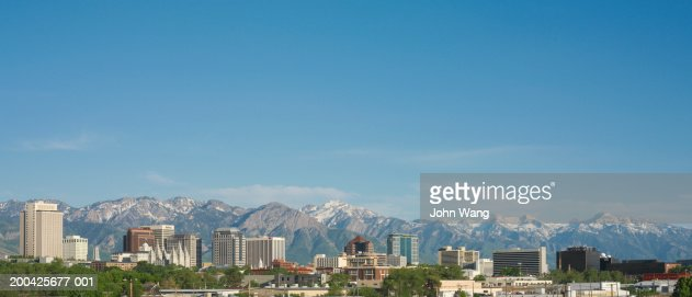 USA, Utah, Salt Lake City, cityscape and mountains, afternoon : Stock Photo