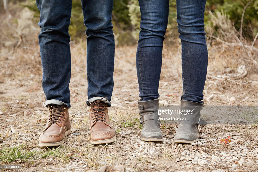 USA, Utah, Salt Lake City, low section of young people in denim jeans : Stock Photo