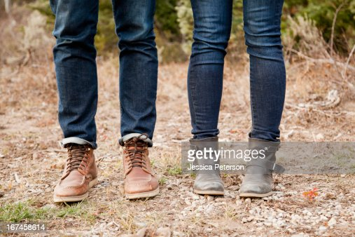 USA, Utah, Salt Lake City, low section of young people in denim jeans