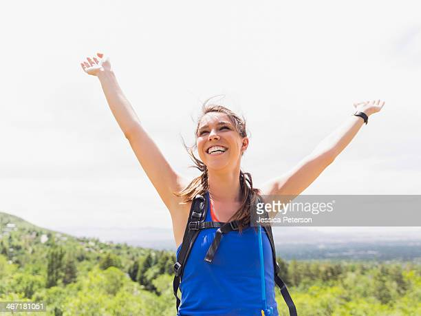 USA, Utah, Salt Lake City, Portrait of athletic woman cheering