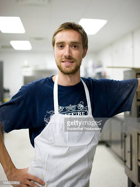 USA, Utah, Salt Lake City, Portrait of chef in bakery