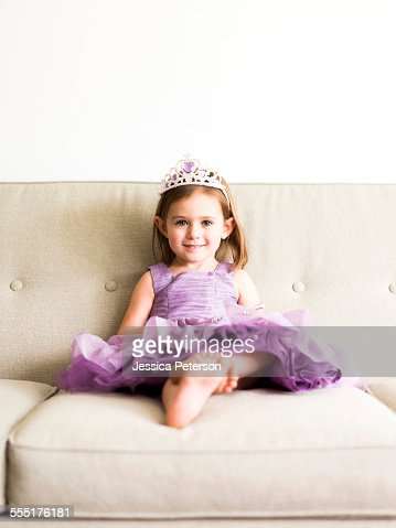 USA, Utah, Salt Lake City, Portrait of girl (4-5) in princess costume