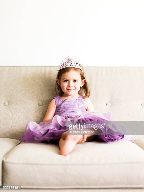 USA, Utah, Salt Lake City, Portrait of girl (4-5) in princess costume