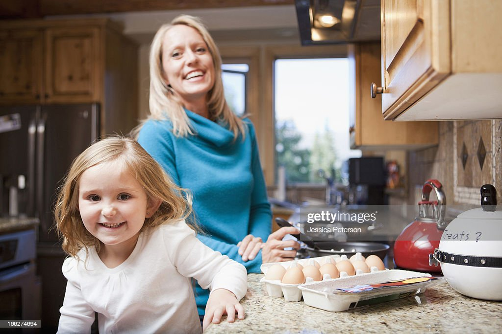 USA, Utah, Salt Lake City, Portrait of happy mother and daughter (4-5) : Stock Photo