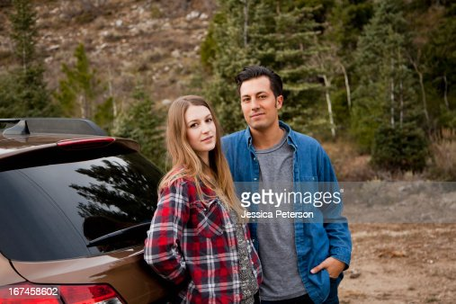 USA, Utah, Salt Lake City, portrait of young couple during road trip : Stock Photo