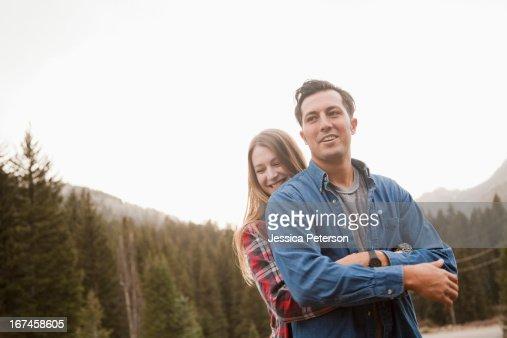 USA, Utah, Salt Lake City, portrait of young couple in non-urban scene : Stock Photo
