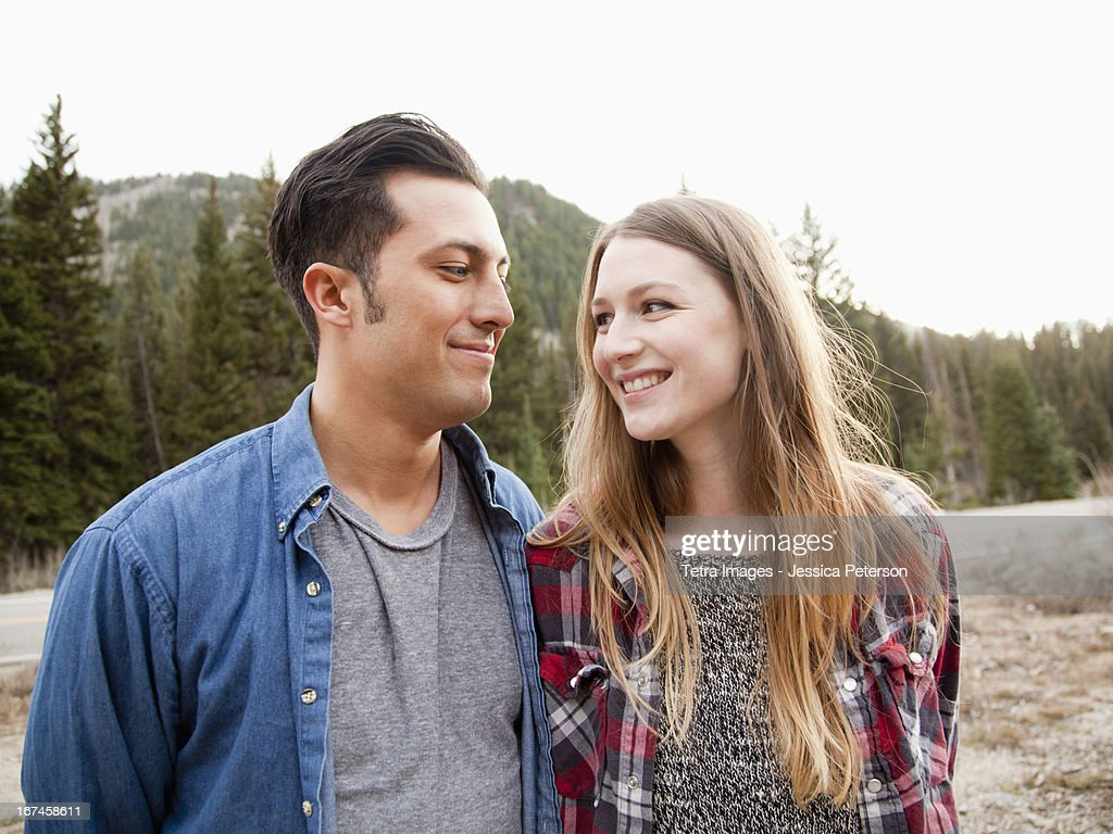 USA, Utah, Salt Lake City, portrait of young couple in non-urban scene : Stock Photo
