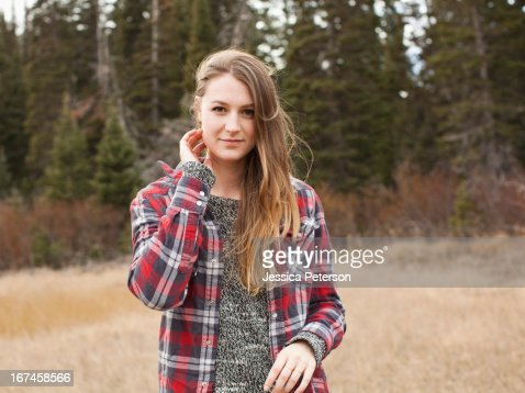 USA, Utah, Salt Lake City, portrait of young woman in non-urban scene : Stock Photo