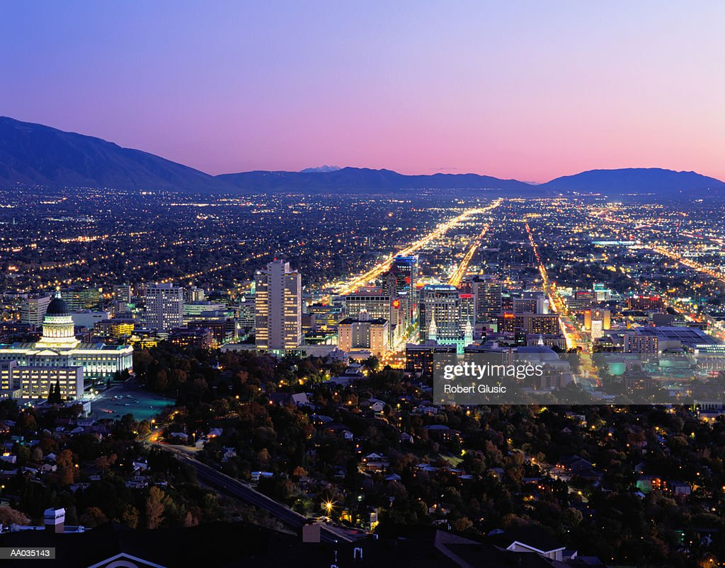 USA, Utah, Salt Lake City skyline, dusk, aerial view : Stock Photo