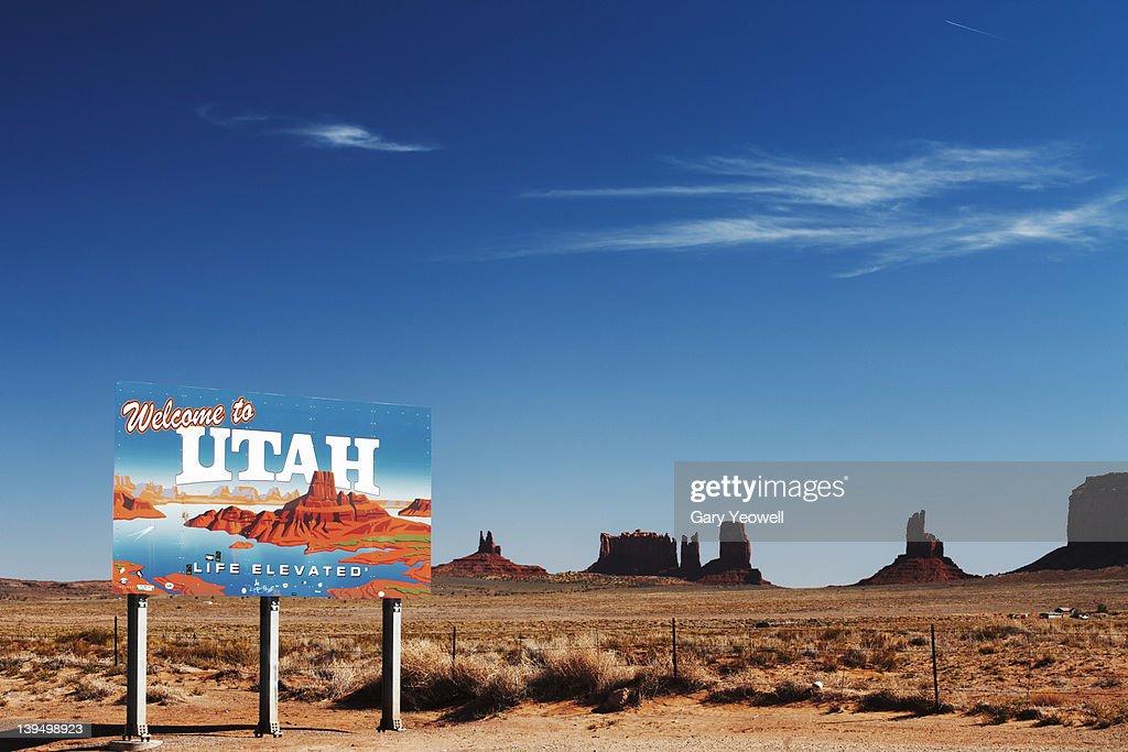 Utah sign in the desert : Stock Photo