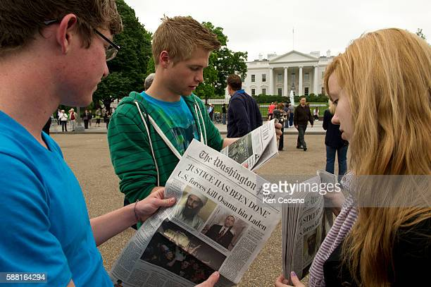 Utah Skyview high school students James Hodgson Jaron Bowers Justine Larsen and stand outside the White House in Washington DC May 2 2011 read the...