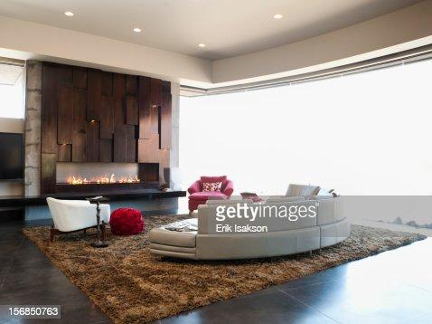 Usa Utah St George Modern Living Room Interior Facing Terrace