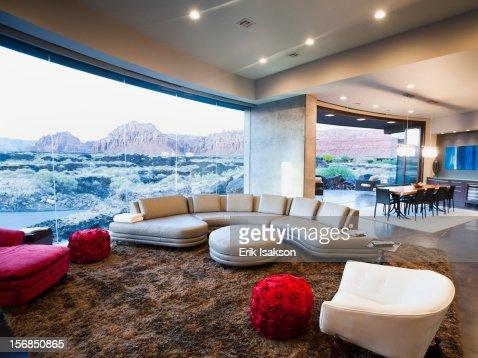 USA Utah St George Modern Living Room Interior Facing Terrace Stock