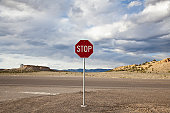USA, Utah, Stop sign in remote area