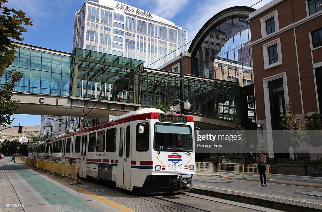 A Utah Transit Authority Trax train passes under the sky bridge at the City Creek Center shopping mall September 24, 2013 in Salt Lake City, Utah. Jack Harry Stiles was arrested on charges of treating terrorism after he informed mental health officials that he was planning on committing mass shootings at the City Creek Center Mall and other locations around Salt Lake City on September 25, 2013. Part of his alleged plan was to set off a bomb on a bus or train as it went under the City Creek sky bridge.