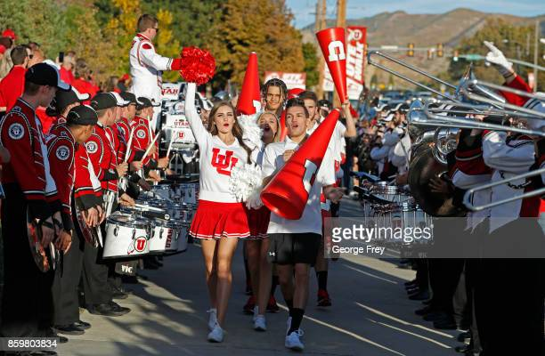 Utah Utes cheerleaders arrive outside the stadium before the start of an college football game against the Utah Utes and Stanford Cardinal on October...