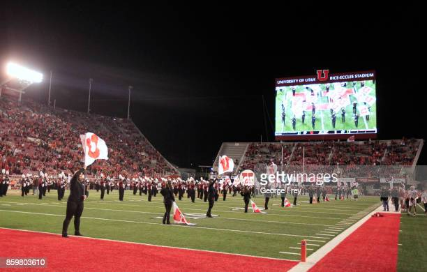 Utah Utes cheerleaders perform during the first half of an college football game against the Stanford Cardinal on October 7 2017 at Rice Eccles...