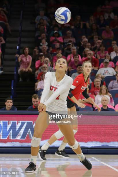 Utah Utes defensive specialist Kristen Abels hits the ball during the a college volleyball game between Utah Utes and Arizona Wildcats on October 13...