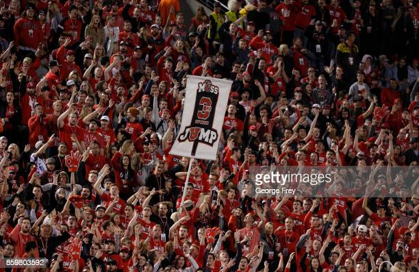 Utah Utes fans cheer during the first half of an college football game against the Stanford Cardinal on October 7 2017 at Rice Eccles Stadium in Salt...