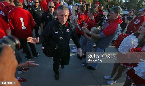 Utah Utes head coach Kyle Whittingham arrives along with his players for an college football game against the Stanford Cardinal on October 7 2017 at...