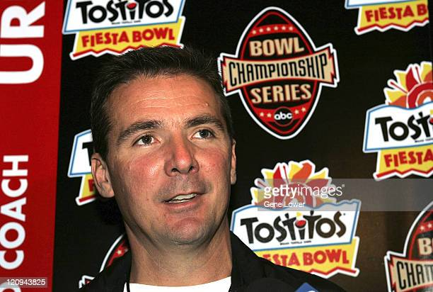 Utah Utes head coach Urban Meyer fields questions The Fiesta Bowl press conference for Utah and Pittsburgh was held on December 29 2004 at the...