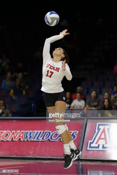 Utah Utes libero/defensive specialist Brianna Doehrmann serves the ball during the a college volleyball game between Utah Utes and Arizona Wildcats...
