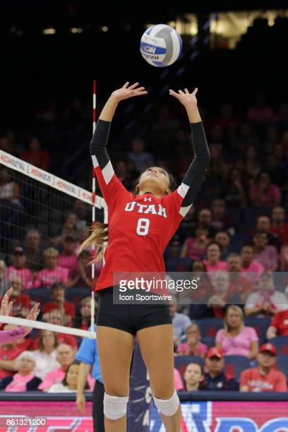 Utah Utes setter Bailey Choy sets the ball up during the a college volleyball game between Utah Utes and Arizona Wildcats on October 13 at McKale...