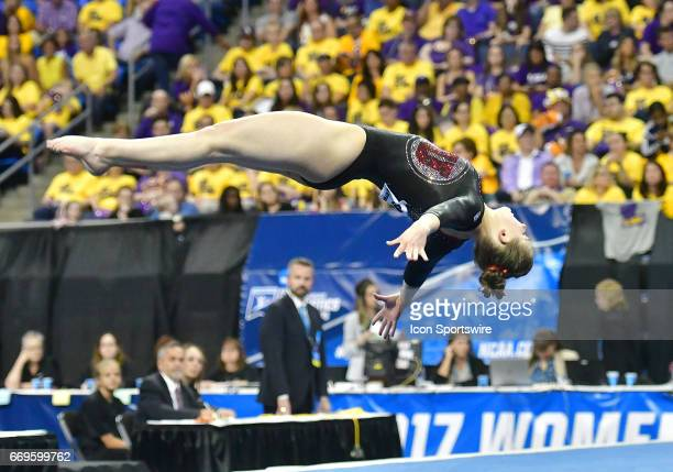 Utah's Baely Rowe tumbles during her floor exercise routine during the finals of the NCAA Women's Gymnastics National Championship on April 15 at...