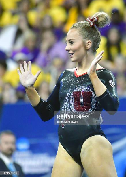 Utah's MyKayla Skinner during her floor exercise routine during the finals of the NCAA Women's Gymnastics National Championship on April 15 at...