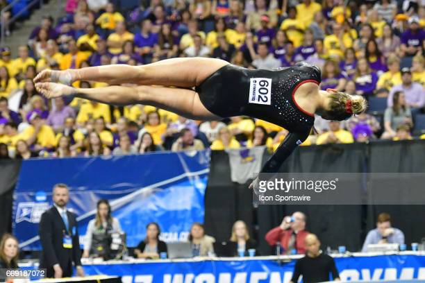 Utah's Tiffani Lewis performs her floor exercise during the finals of the NCAA Women's Gymnastics National Championship on April 15 at Chaifetz Arena...