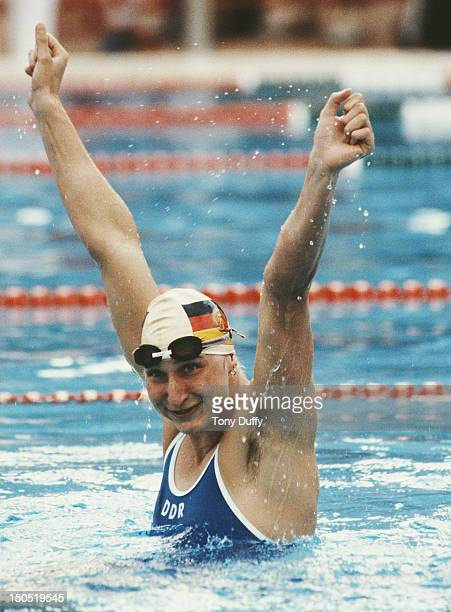 Ute Geweniger of East Germany celebrates winning in a world record time the Women's 100 metres Breaststroke at the European Swimming Championships on...