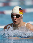 Ute Geweniger of East Germany during the Women's 100 metres Breaststroke at the European Swimming Championships on 25th August 1983 at the Stadio...