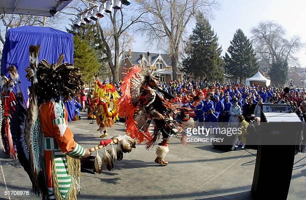 Ute indian dancers perform for the China French Uzbekistan and Yugoslavia Olympic teams at the Olympic Village 06 February 2002 in Salt Lake City The...