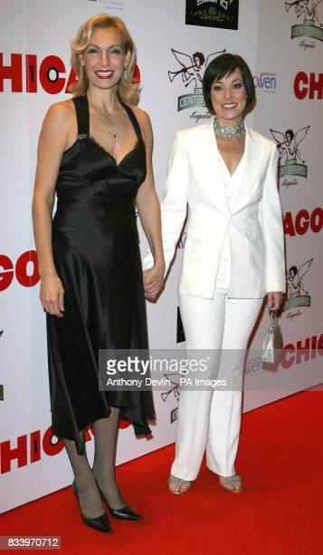 Ute Lemper and Ruthie Henshall arrive for a charity performance celebrating 10 years of the popular musical Chicago at the Cambridge Theatre London