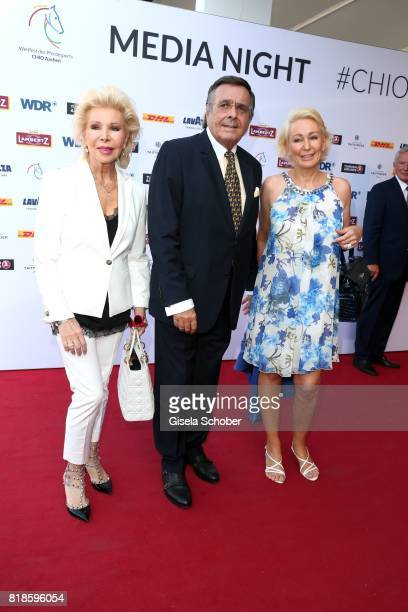 Ute Ohoven and her husband Mario Ohoven and her daughter Claudia Jerger during the media night of the CHIO 2017 on July 18 2017 in Aachen Germany